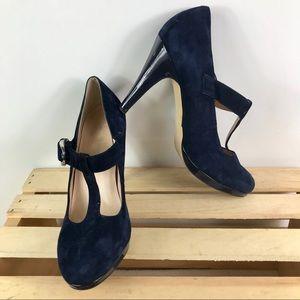 Franco Sarto navy suede T Strap 4 in. buckle heels